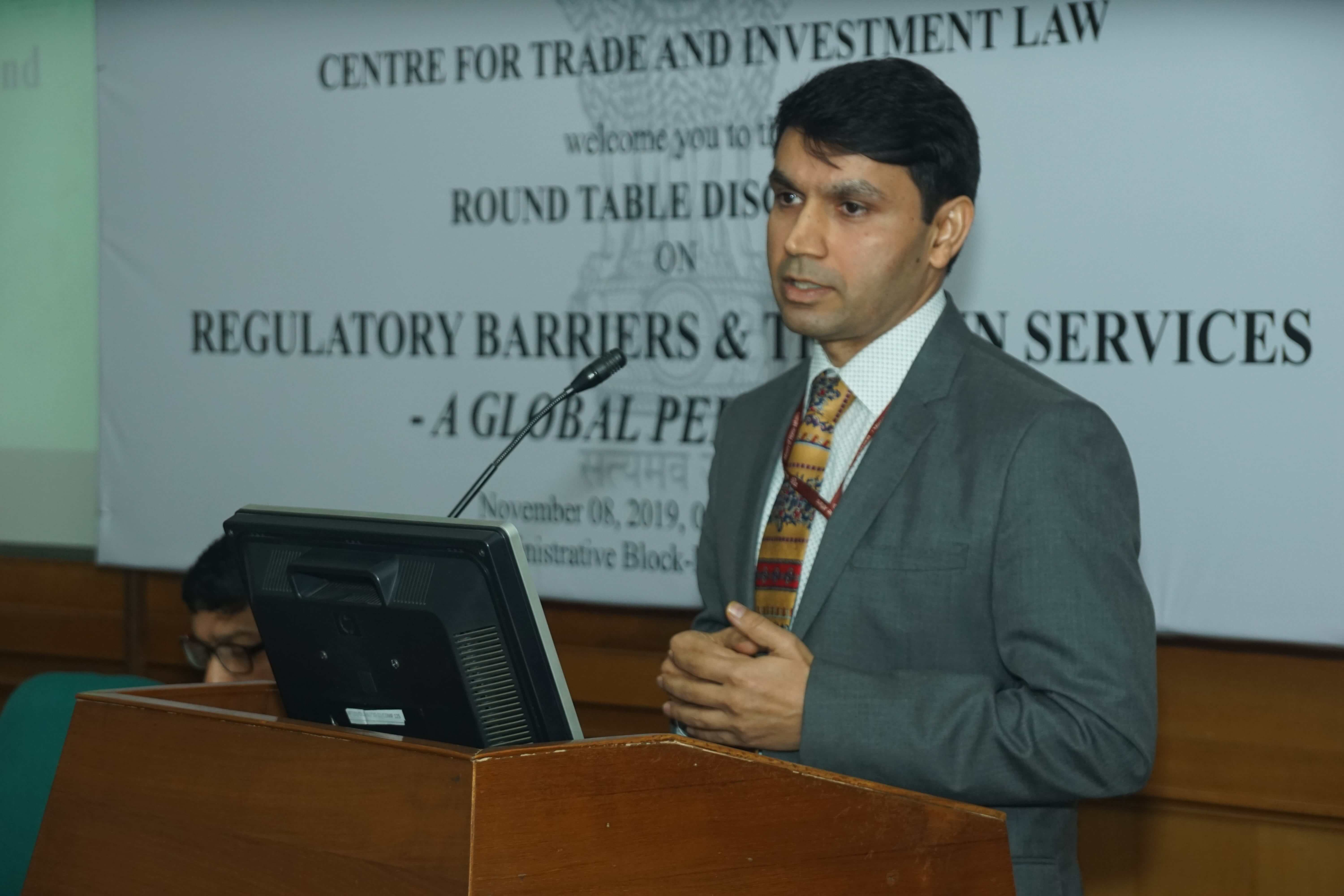 Mr. Darpan Jain, JS, DoC in the discussion on Regulatory Barriers and Trade in Services on 8th Nov 2019